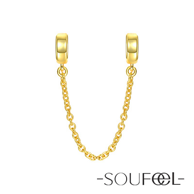 SOUFEEL索菲爾 925純銀珠飾 安全鏈 金色