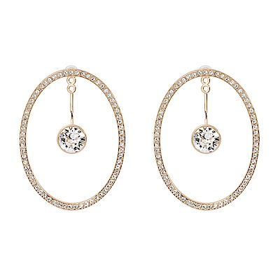 SWAROVSKI 施華洛世奇 璀璨水晶大橢圓鏤空垂墜圓形玫瑰金耳環