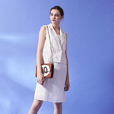 無印清新線條印花西裝背心×洋裝假兩件拼接造型洋裝(兩穿)-白