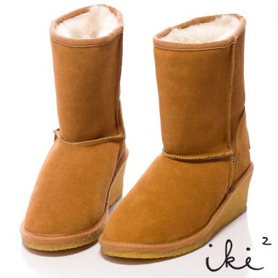 iki2甜美加分-美腿小楔跟好感雪靴-中咖