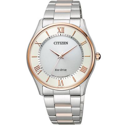 CITIZEN 羅馬紳士光動能腕錶(BJ6484-50A)-銀x雙色/37.2mm