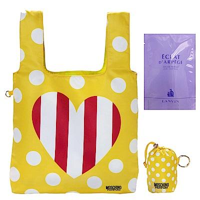 MOSCHINO點點愛心購物袋+隨機針管香1入
