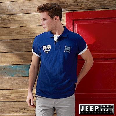 JEEP 潮流美式風格貼布短袖POLO衫-藍色