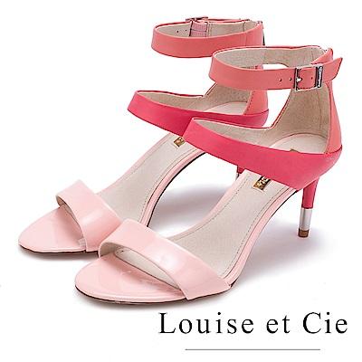Louise et Cie 高質感拼接面尖頭高跟涼鞋-鏡粉