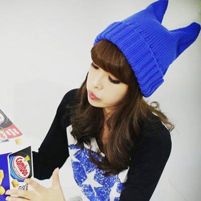 R-P皇家遊樂園-韓系俏皮小惡魔保暖針織毛帽
