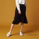 OUWEY歐薇 不規則剪接魚尾過膝裙(黑)-動態show