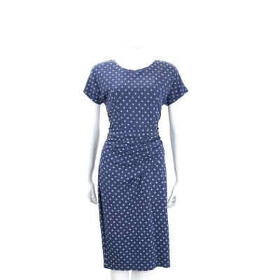 Max Mara-WEEKEND 灰藍色腰間抓褶設計短袖洋裝