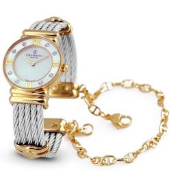 CHARRIOL 夏利豪晶鑽金色羅馬珍珠白鎖鍊錶-24.5mm