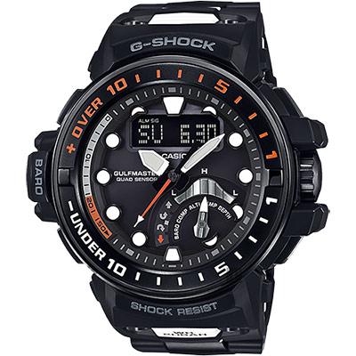 CASIO卡西歐 G-SHOCK MASTER 海軍進階版太陽能電波手錶-橘/57.3mm