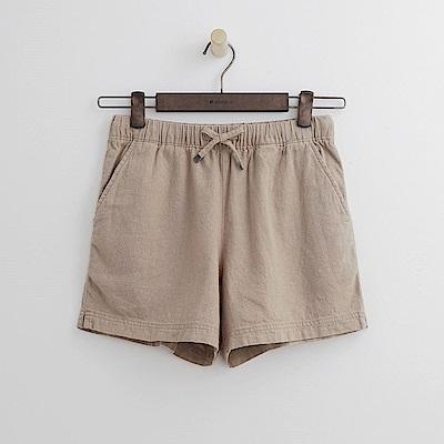 Hang Ten - 女裝 - 單色彈力鬆緊綁帶短褲-卡其色