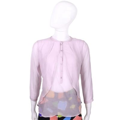 MARELLA 粉紫色抓褶設計七分袖上衣
