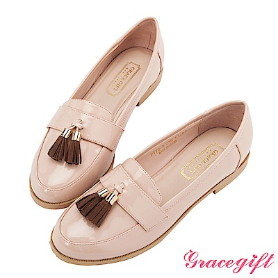 Grace gift-漆皮絨布流蘇低跟樂福鞋 杏