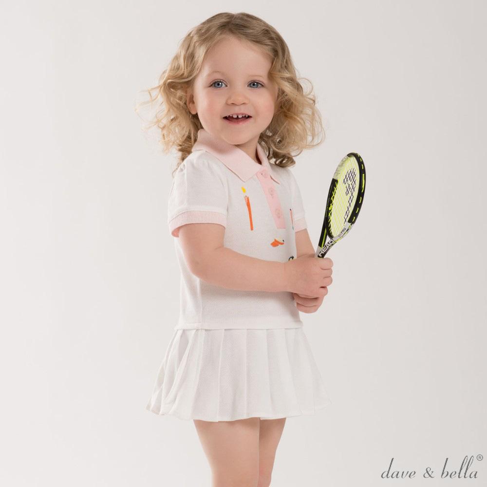 Dave Bella 白色百褶裙網球運動套裝