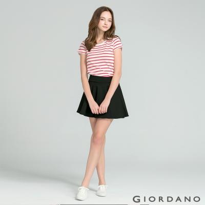 GIORDANO 女裝好感百搭圓領短袖TEE- 92 雪白x競賽紅