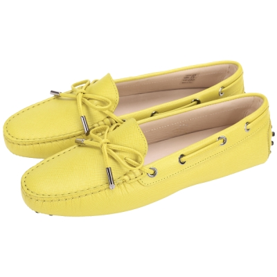 TOD'S Gommino 壓紋牛皮綁帶豆豆休閒鞋(女鞋/黃色)