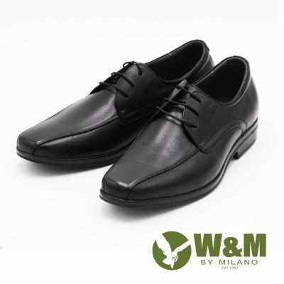 W&M 商務正裝綁帶透氣男士皮鞋-黑