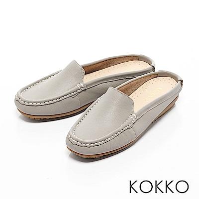 KOKKO-精品手感牛皮莫卡辛穆勒平底鞋-中性灰