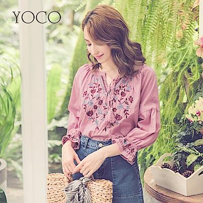 東京著衣-yoco波希米亞流蘇綁帶花朵刺繡七分袖上衣(共一色)