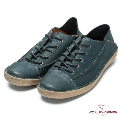 CUMAR 後踩系列 樂活休閒牛皮兩穿鞋-藍色