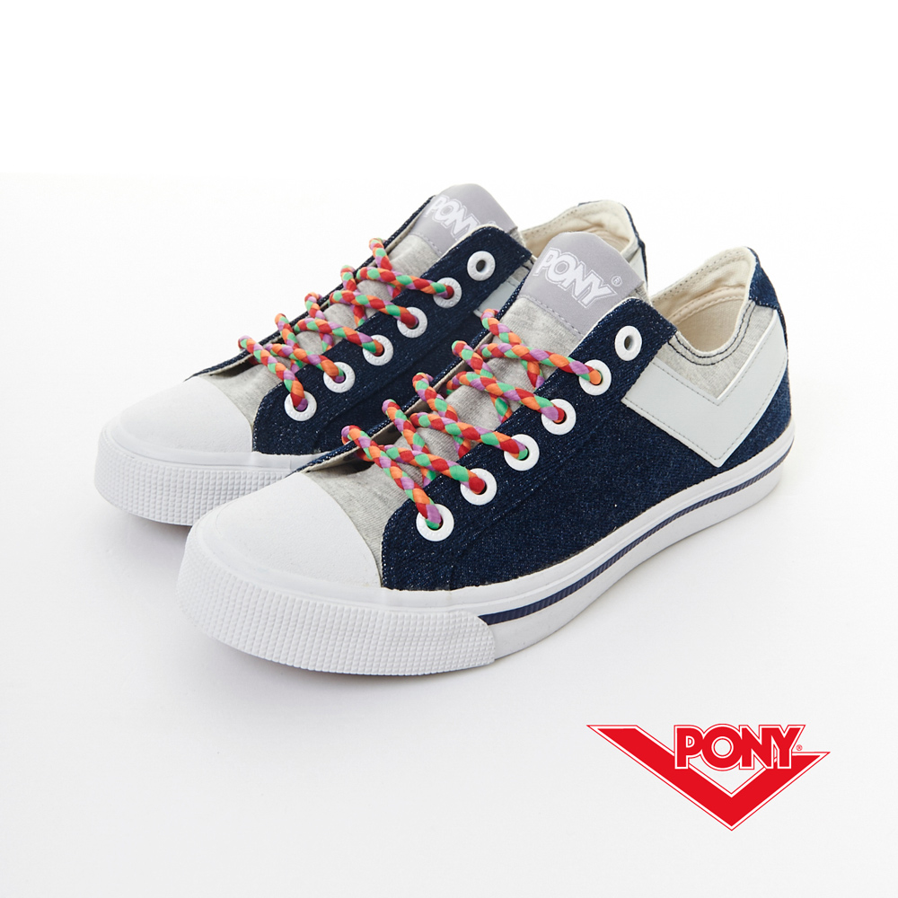 PONY_SHOOTER_休閒牛仔氣息帆布鞋-深藍/灰(中性)