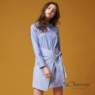 OUWEY歐薇 率性簡約條紋襯衫洋裝(藍)-動態show