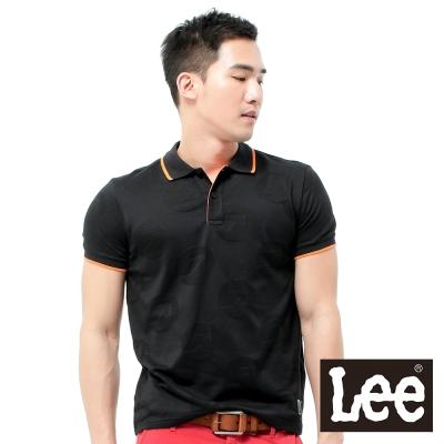 Lee-短袖POLO-網眼簍空圖案設計-男款-黑
