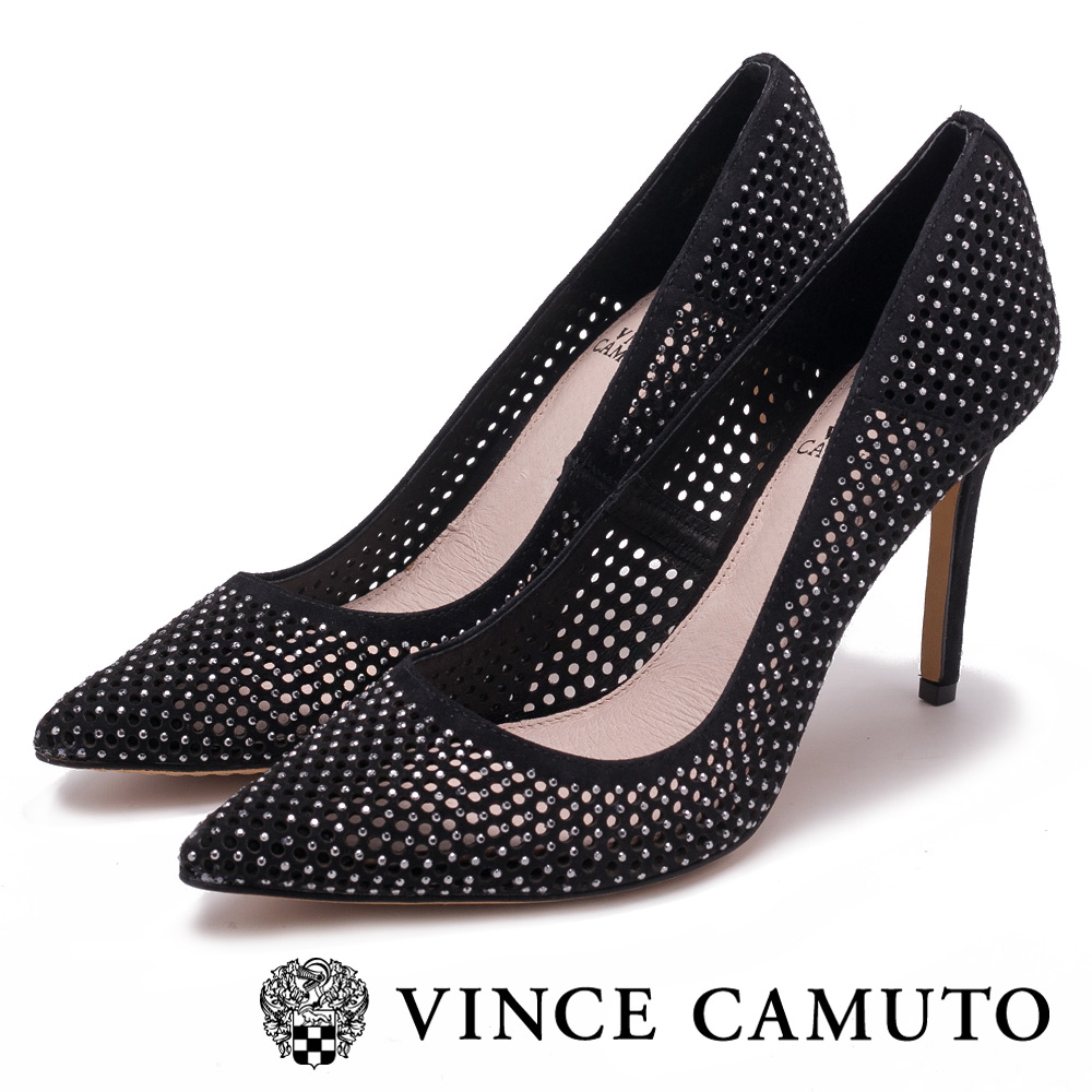 Vince Camuto 個性美學 絨面尖頭曲線高跟鞋-絨黑
