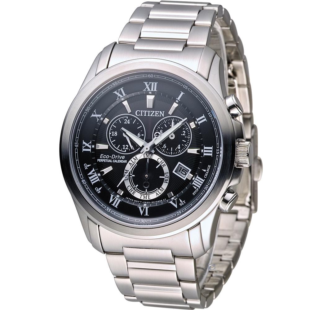 CITIZEN 星辰光動能雙時區萬年曆限定腕錶(BL5540-53E)-黑/43mm