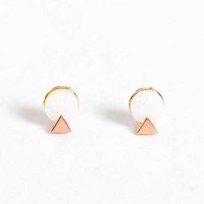 微醺禮物 正韓 鍍K金針 圓形天然石 三角 簡約精緻可愛春天 耳針 耳環