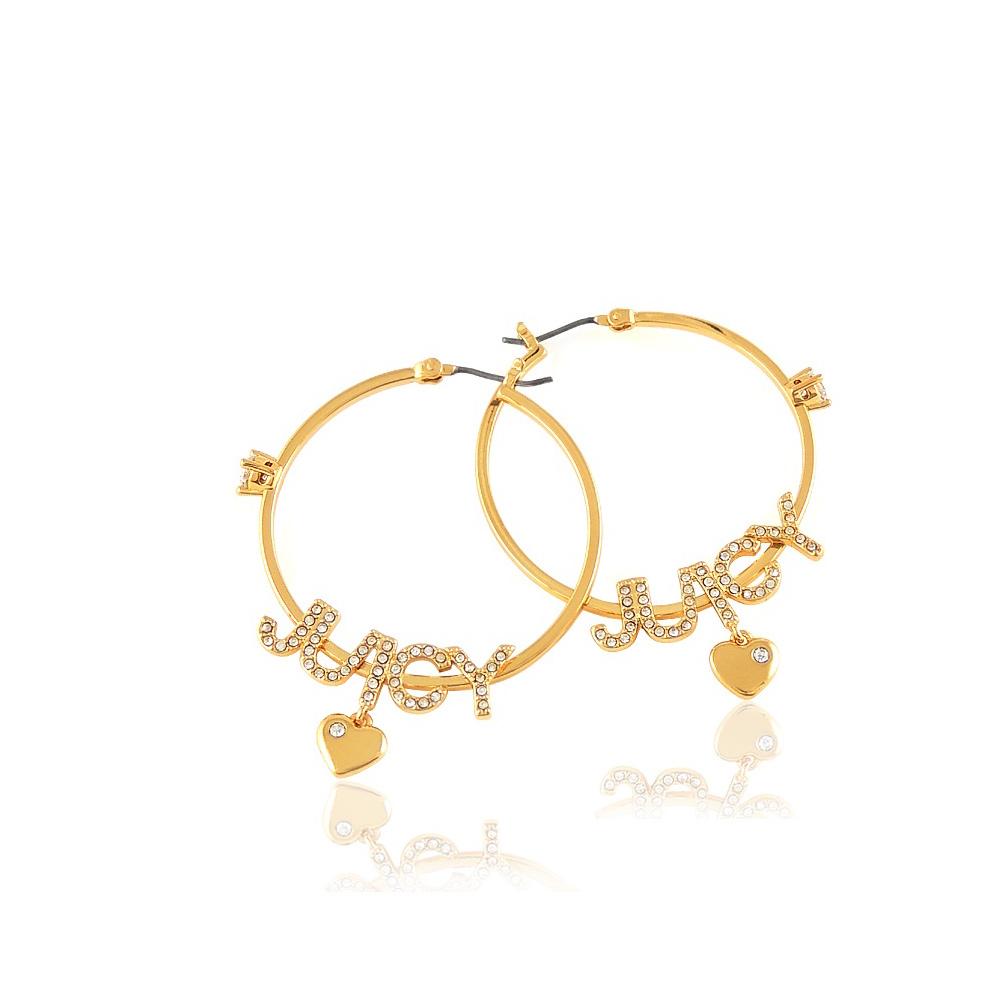 JUICY COUTURE 金色LOGO字樣晶鑽鑲嵌環型耳環