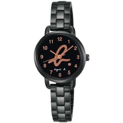 agnes b.都會魔幻時尚三針腕錶(BH8043X1)x玫塊金x27mm