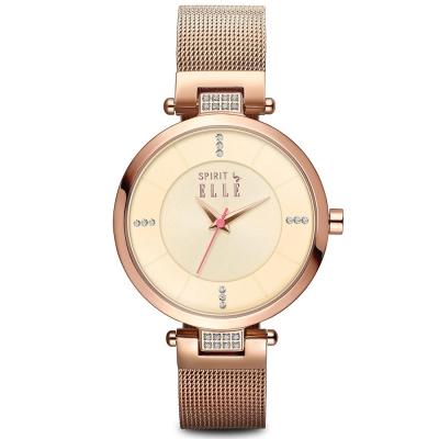 ELLE 典雅簡約晶鑽米蘭時尚腕錶-淡金/33mm