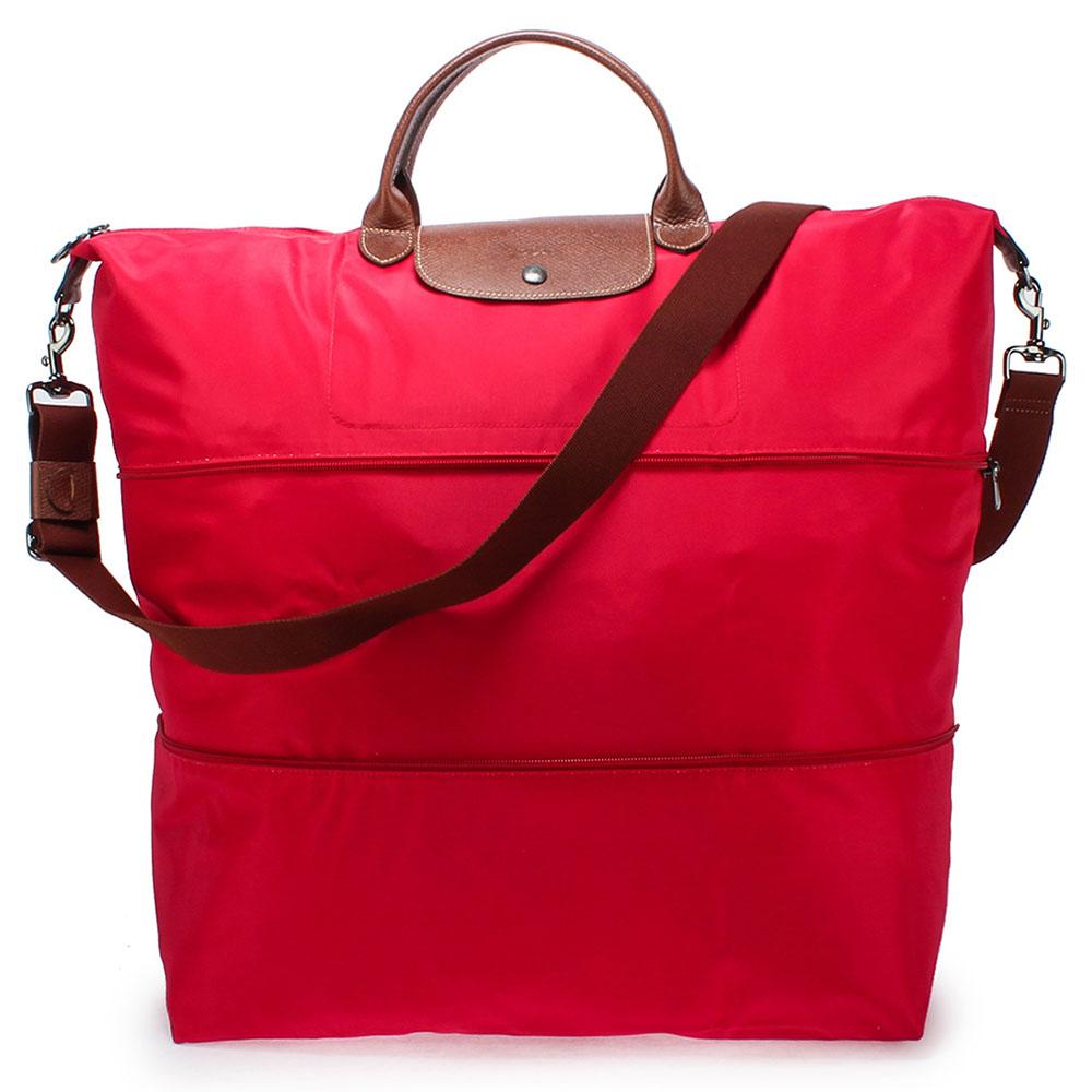 Longchamp Le Pliage擴充式短提把兩用折疊旅行袋-玫瑰紅LONGCHAMP