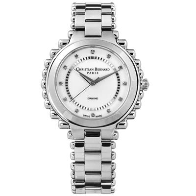 CHRISTIAN BERNARD 伯納錶 真鑽瑞士製造棕櫚樹不鏽鋼手錶-銀色/38mm