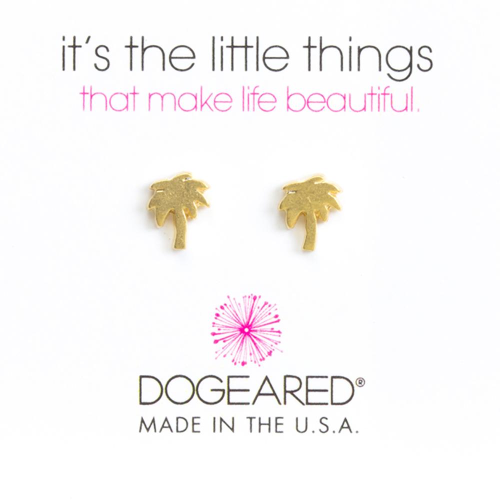 Dogeared 好萊塢棕梠樹耳環 金色 PALM TREE 附原廠盒