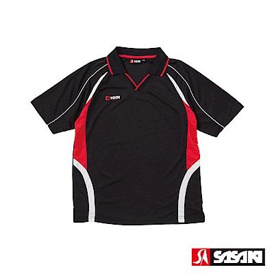 SASAKI 吸濕排汗排球短衫-男-黑/紅