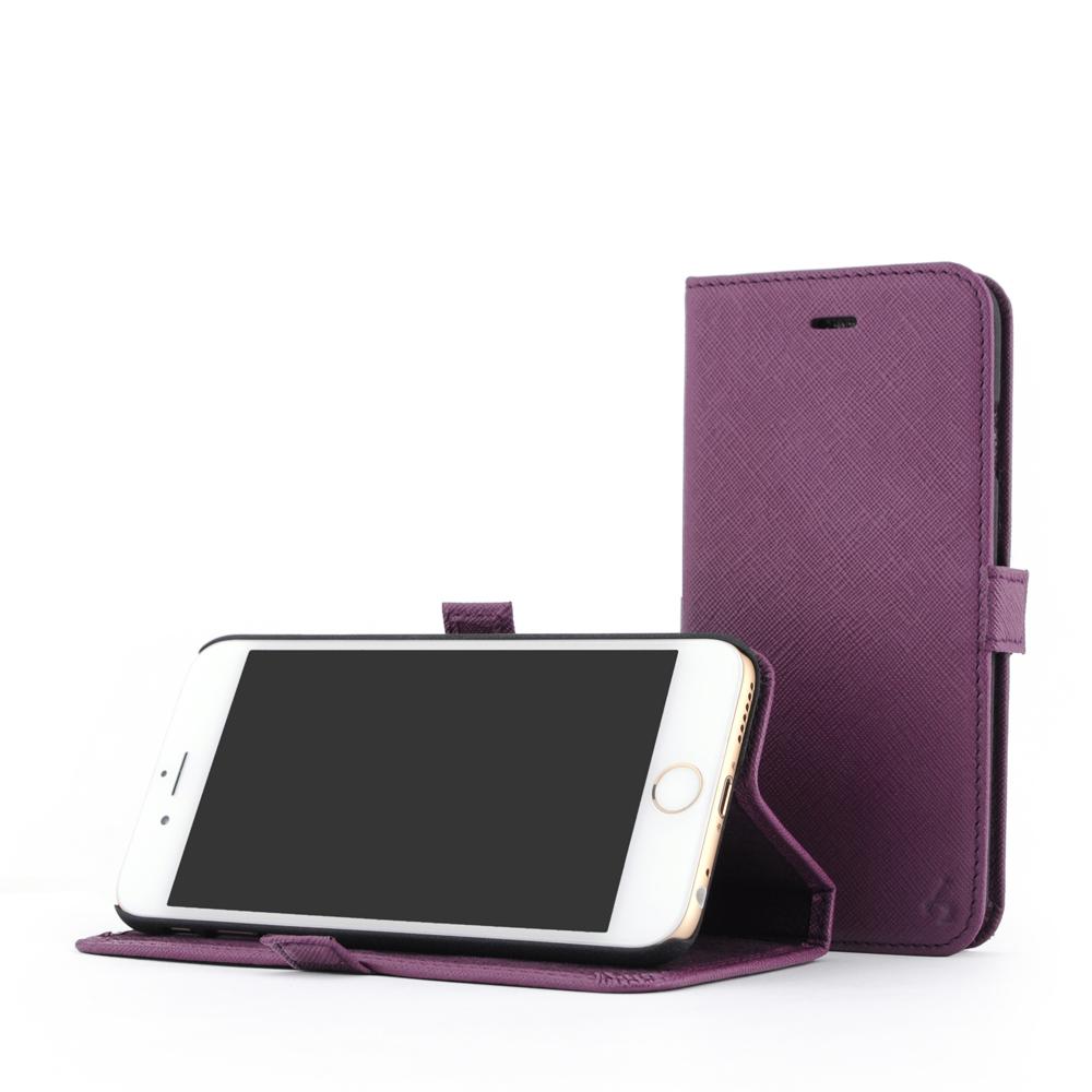 STORY皮套王 iphone 6 /6s  摺邊折疊式 十字紋紫現貨皮套