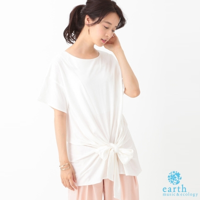 earth music 下擺蝴蝶結綁帶設計T上衣/T恤