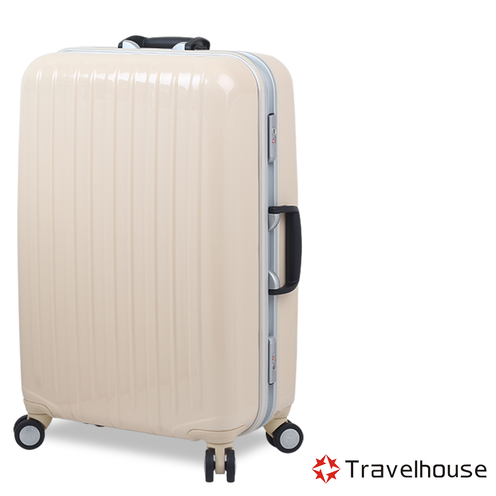 Travelhouse COLORS 29吋視覺享宴PC鋁框硬殼行李箱(白)