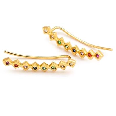 GORJANA 典雅彩鑽 金色耳環 耳骨夾 圓弧造型 需耳洞