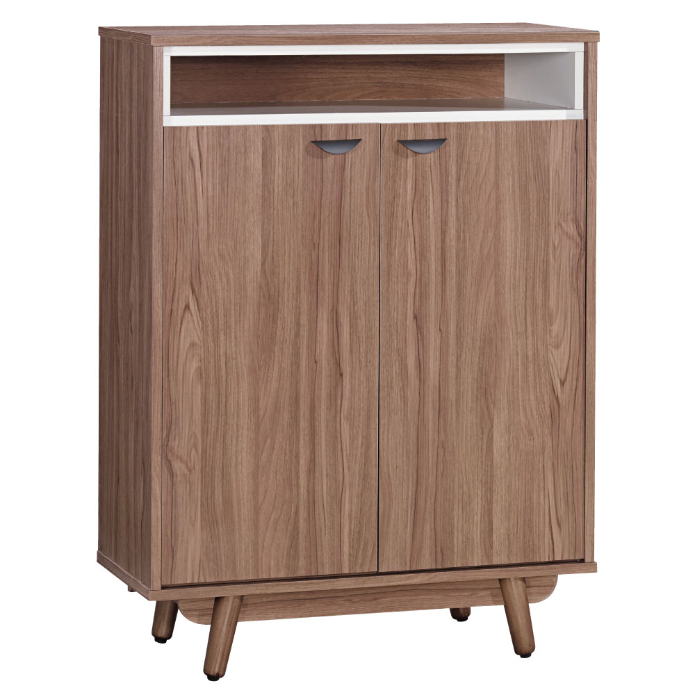 品家居 蘿絲瑪麗2.6尺柚木色開門鞋櫃(寬79x深40x高109cm)