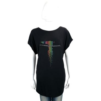 TRUSSARDI 黑藍色多彩LOGO貼飾短袖長版T恤
