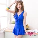 天使霓裳 沁涼糖芯 一件式泳衣加大尺碼款(藍L~3L)