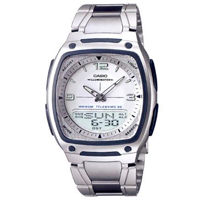 CASIO 都會風雙顯商務錶-鋼帶/黑/白