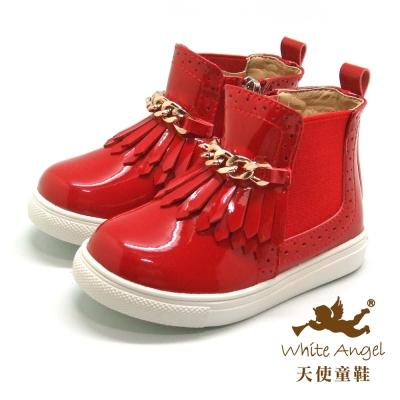 天使童鞋-C2353 流蘇金鍊短靴(小童)-魅力紅