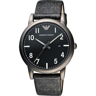 ARMANI Classic 品牌壓紋時尚腕錶-黑/41mm