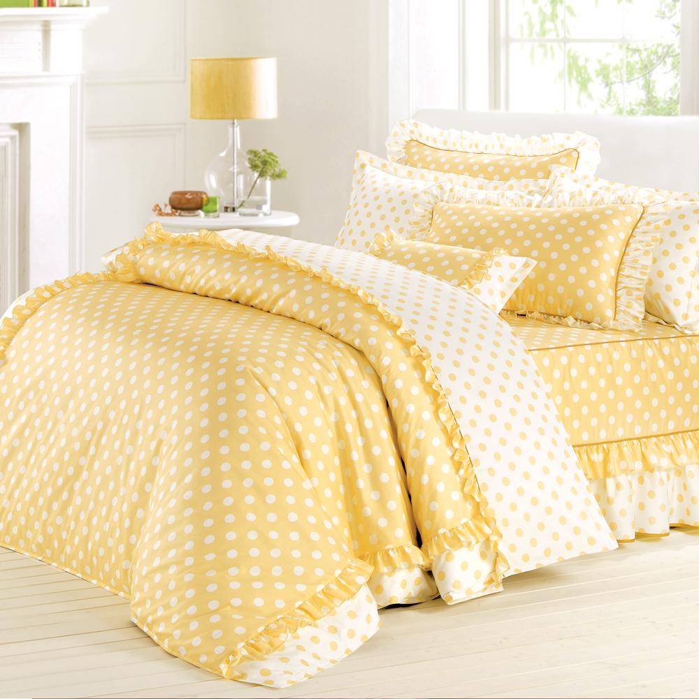 法國MONTAGUT - 甜蜜馬卡龍(黃) - 單人五件式鋪棉床罩組