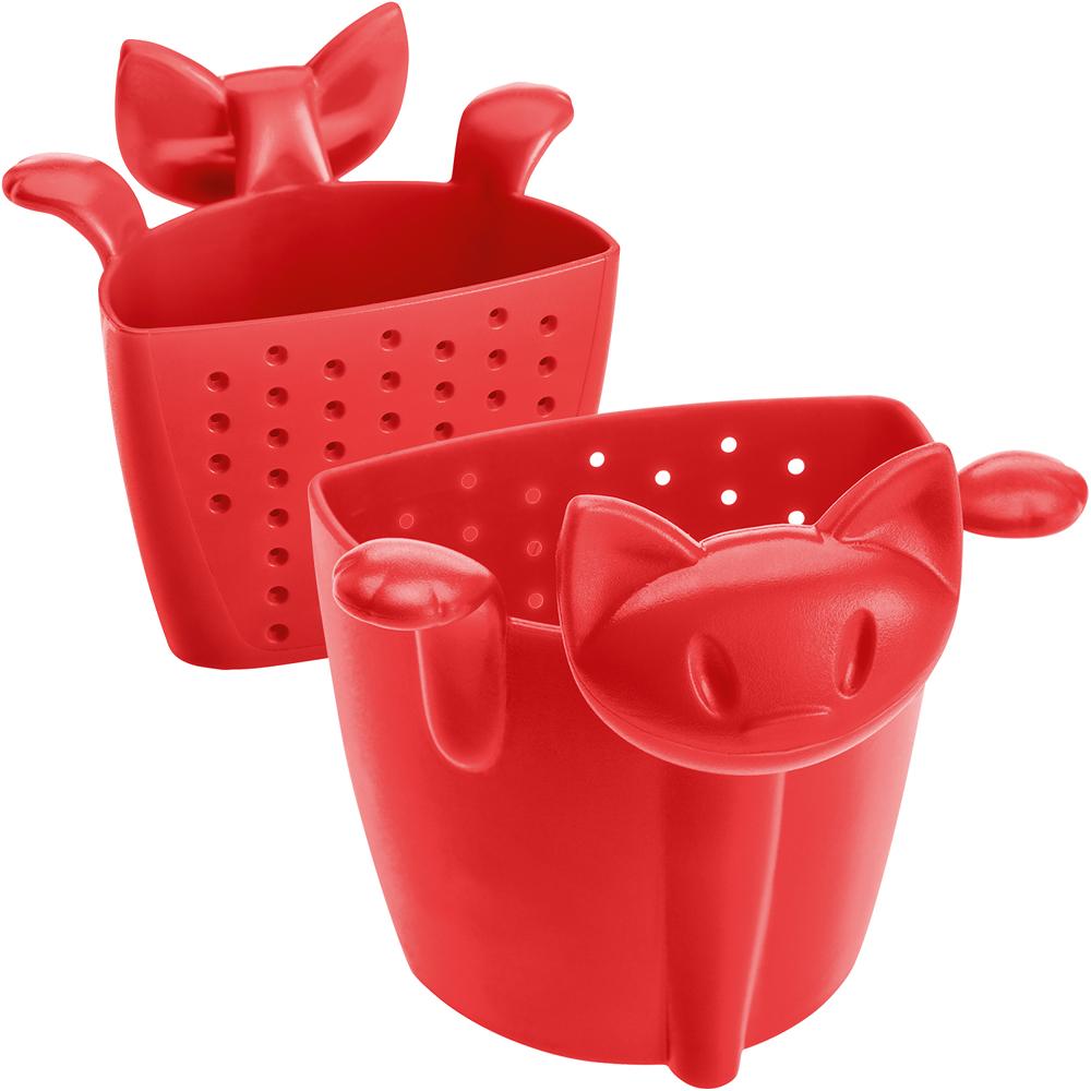KOZIOL 慵懶貓掛式濾茶器(紅)