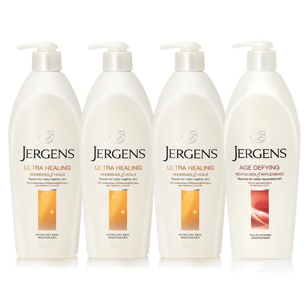 JERGENS珍柔 美體護膚保濕乳液650ml-長效配方x3+維他命x1