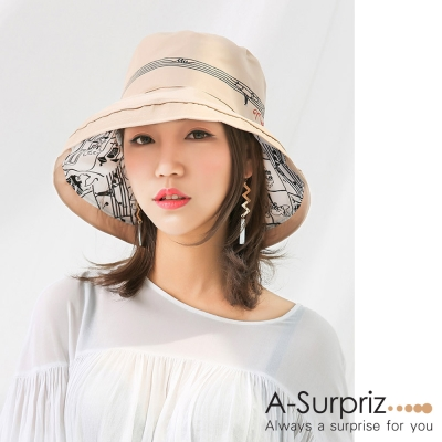A-Surpriz 跳躍音符雙層遮陽布帽(淺卡其)